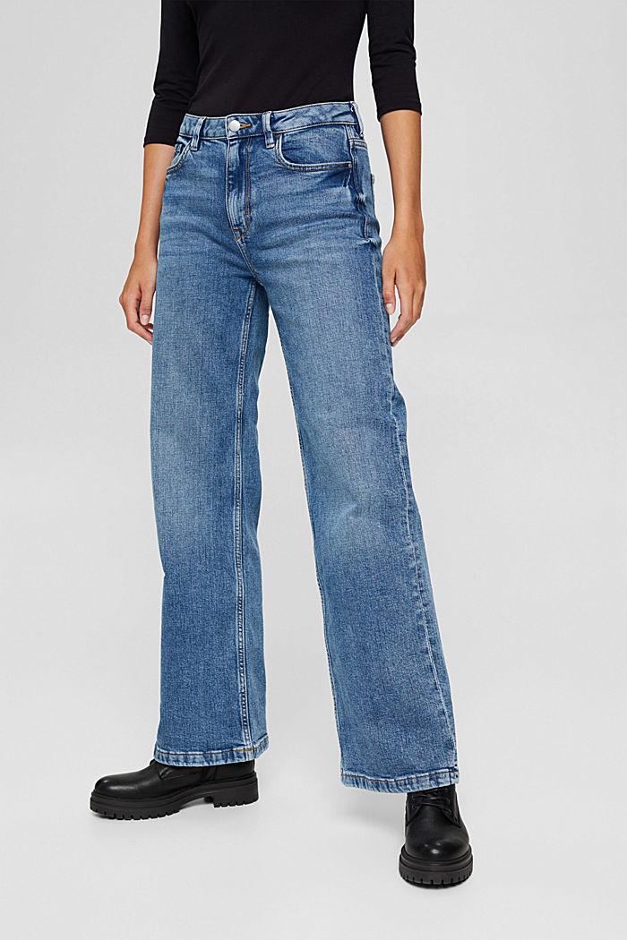 Jean à jambes larges, coton biologique, BLUE MEDIUM WASHED, detail image number 6