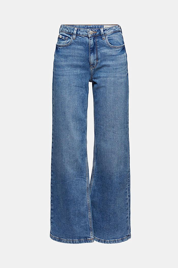 Jean à jambes larges, coton biologique, BLUE MEDIUM WASHED, detail image number 7