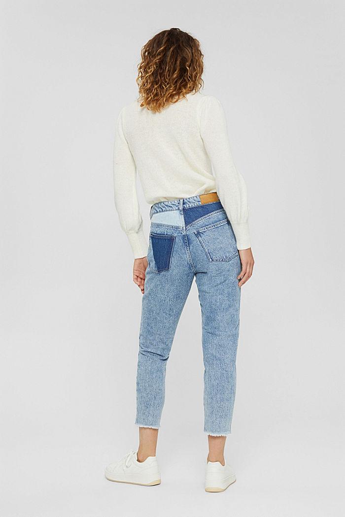 Jeans im Patchwork-Look, 100% Bio-Baumwolle, BLUE MEDIUM WASHED, detail image number 3