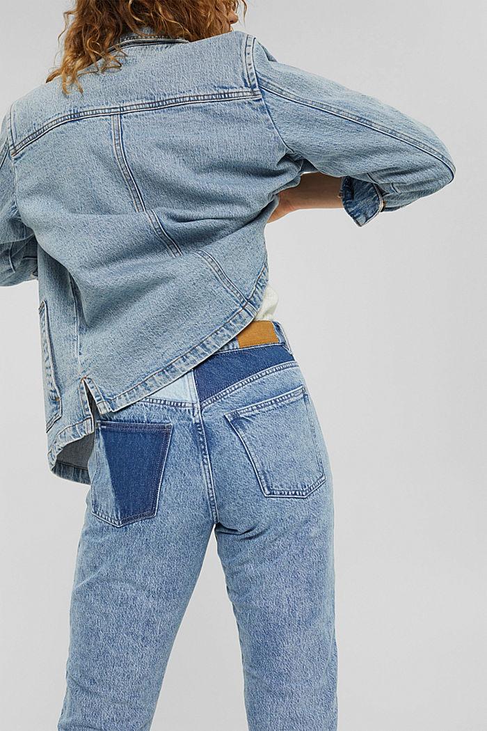 Jeans im Patchwork-Look, 100% Bio-Baumwolle, BLUE MEDIUM WASHED, detail image number 5