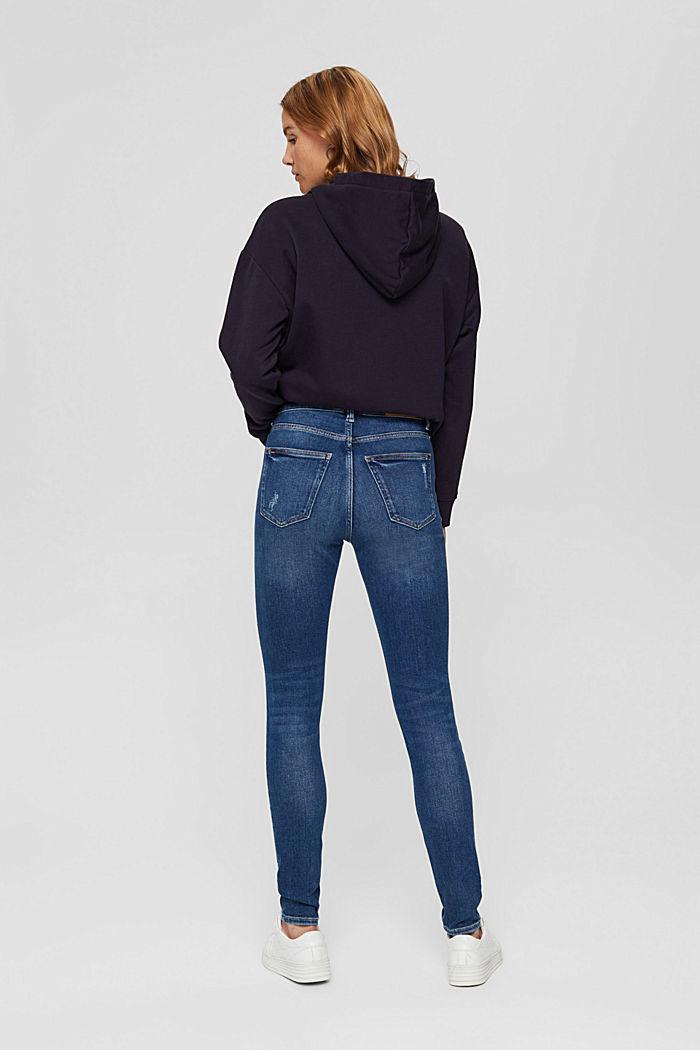 Jean Skinny au look destroy, coton bio, BLUE DARK WASHED, detail image number 3