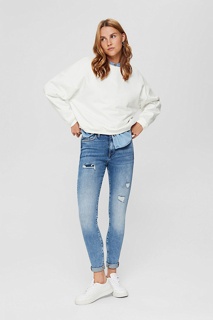 Skinny jeans in a distressed look, organic cotton, BLUE MEDIUM WASHED, detail image number 0