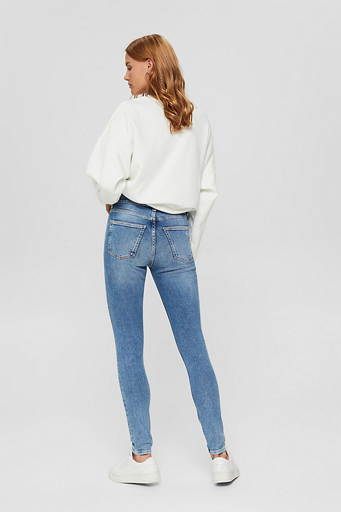 Skinny jeans in a distressed look, organic cotton, BLUE MEDIUM WASHED, detail image number 3