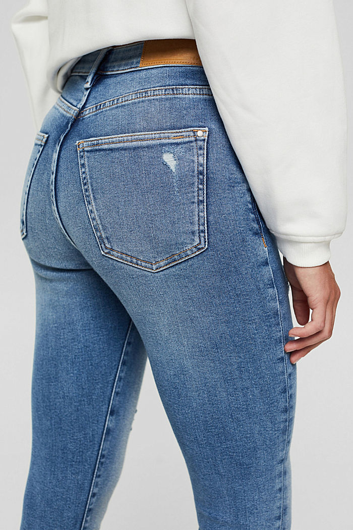 Skinny jeans in a distressed look, organic cotton, BLUE MEDIUM WASHED, detail image number 2
