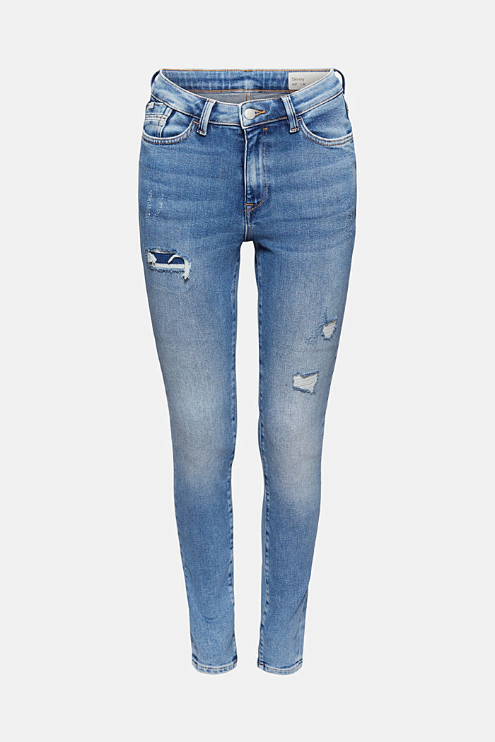 Skinny jeans in a distressed look, organic cotton, BLUE MEDIUM WASHED, detail image number 7