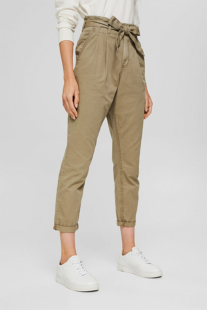 Pima cotton paperbag trousers with a belt, LIGHT KHAKI, detail image number 0