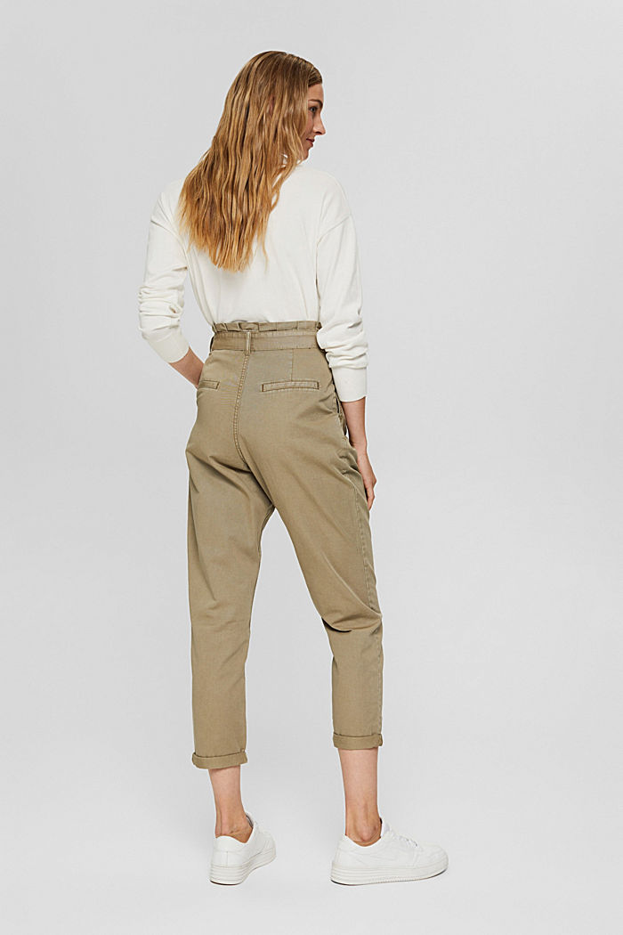 Pima cotton paperbag trousers with a belt, LIGHT KHAKI, detail image number 3