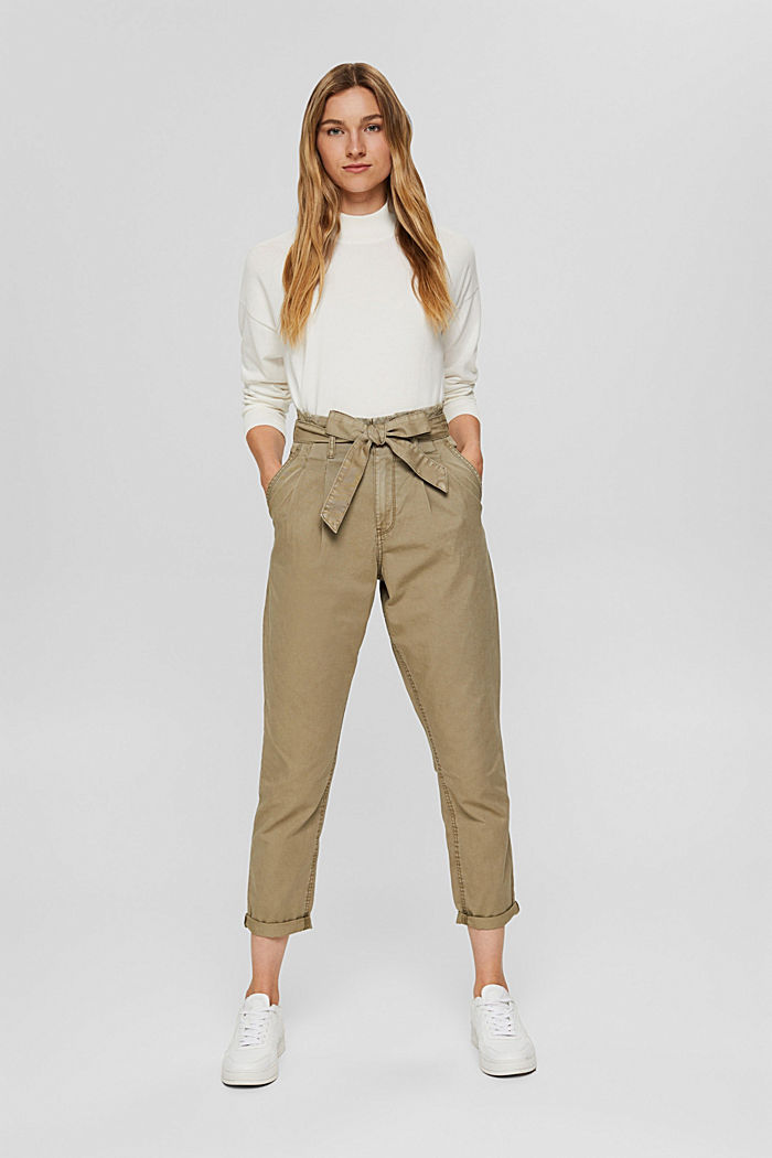 Pima cotton paperbag trousers with a belt, LIGHT KHAKI, detail image number 1