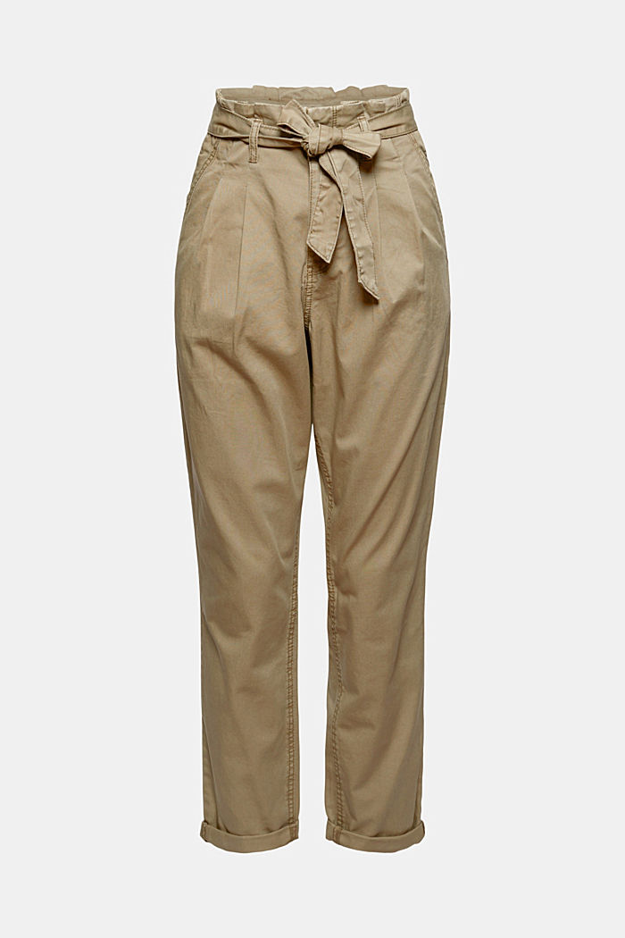 Pima cotton paperbag trousers with a belt, LIGHT KHAKI, detail image number 5
