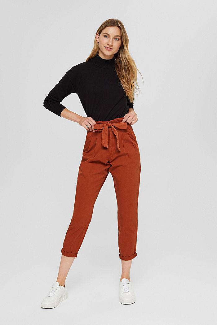 Pantalón con cintura paper bag y cinturón, algodón Pima