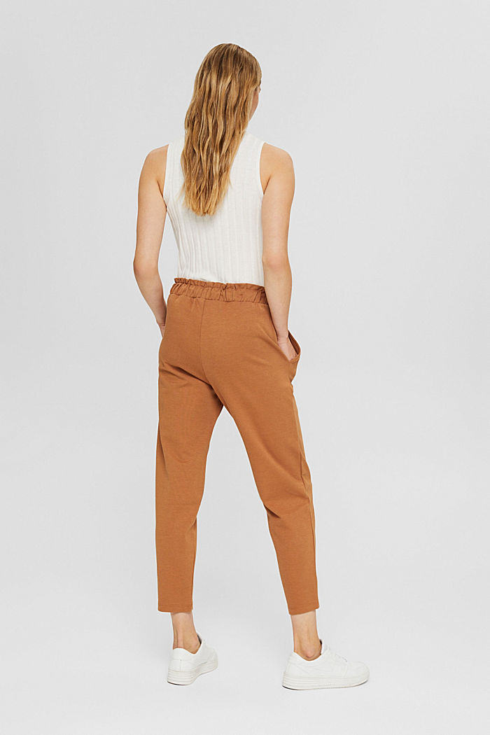 Piqué trousers with an elasticated waistband, organic cotton, BARK, detail image number 3