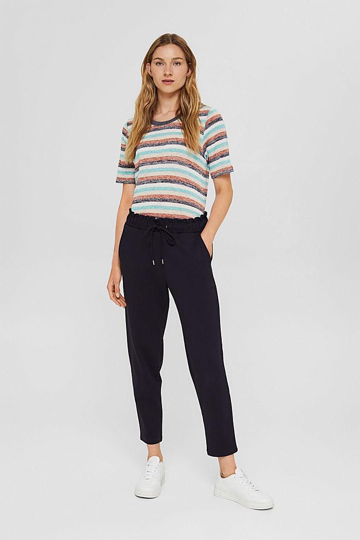 Pantalon en maille piquée à taille élastique, coton biologique
