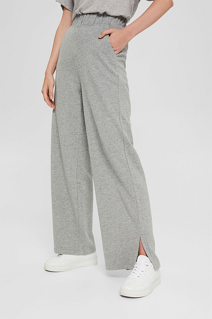 Pantalon de jogging à jambes larges, coton biologique, MEDIUM GREY, detail image number 0