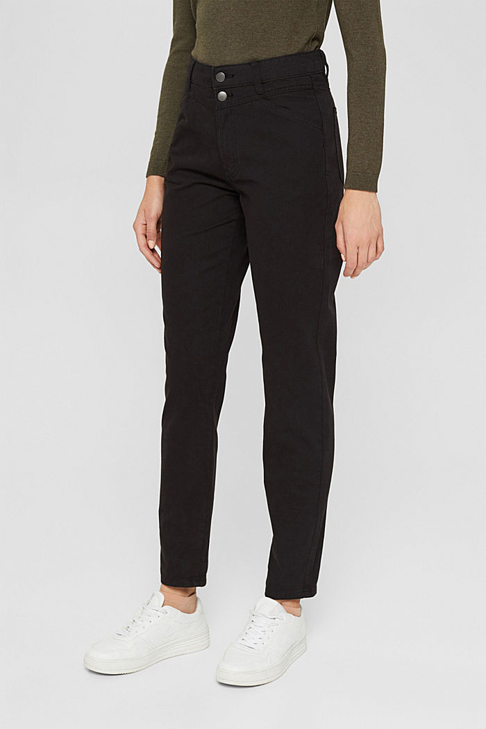 High-rise trousers with a double button, 100% organic cotton, BLACK, detail image number 0