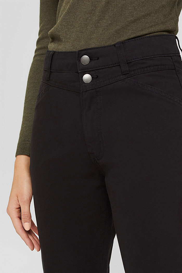 High-rise trousers with a double button, 100% organic cotton, BLACK, detail image number 2