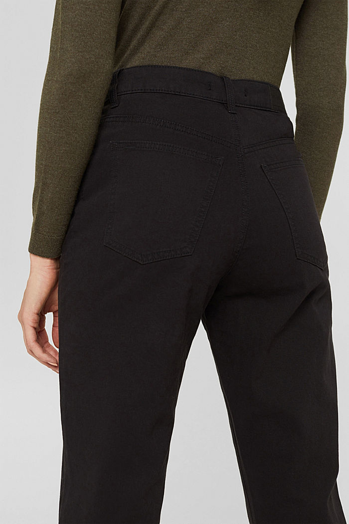 High-rise trousers with a double button, 100% organic cotton, BLACK, detail image number 5