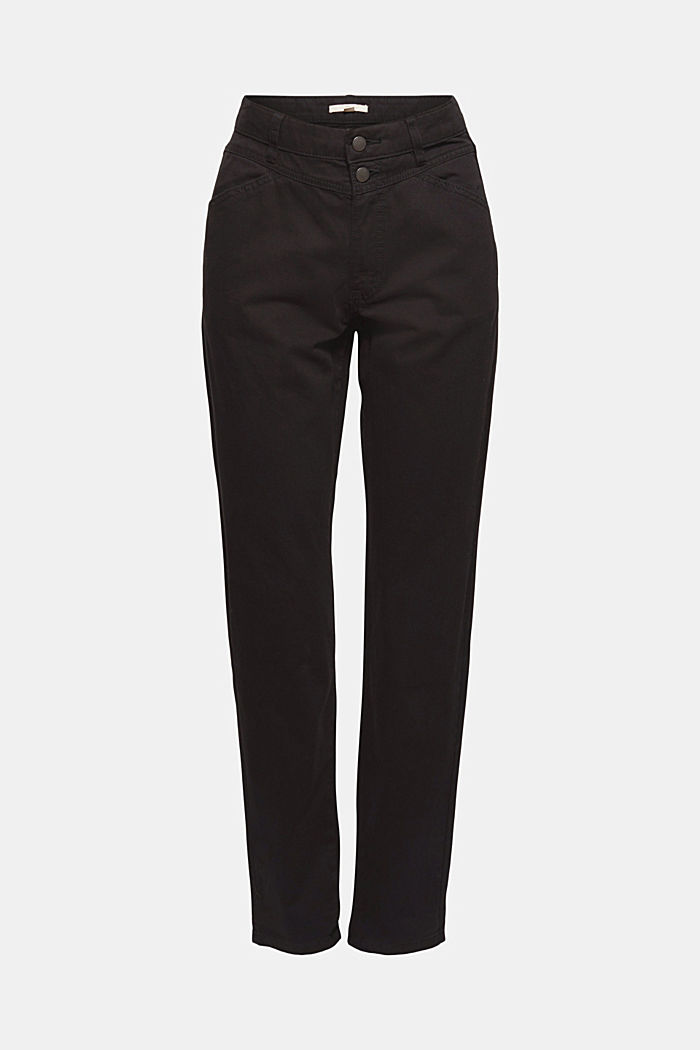 High-rise trousers with a double button, 100% organic cotton