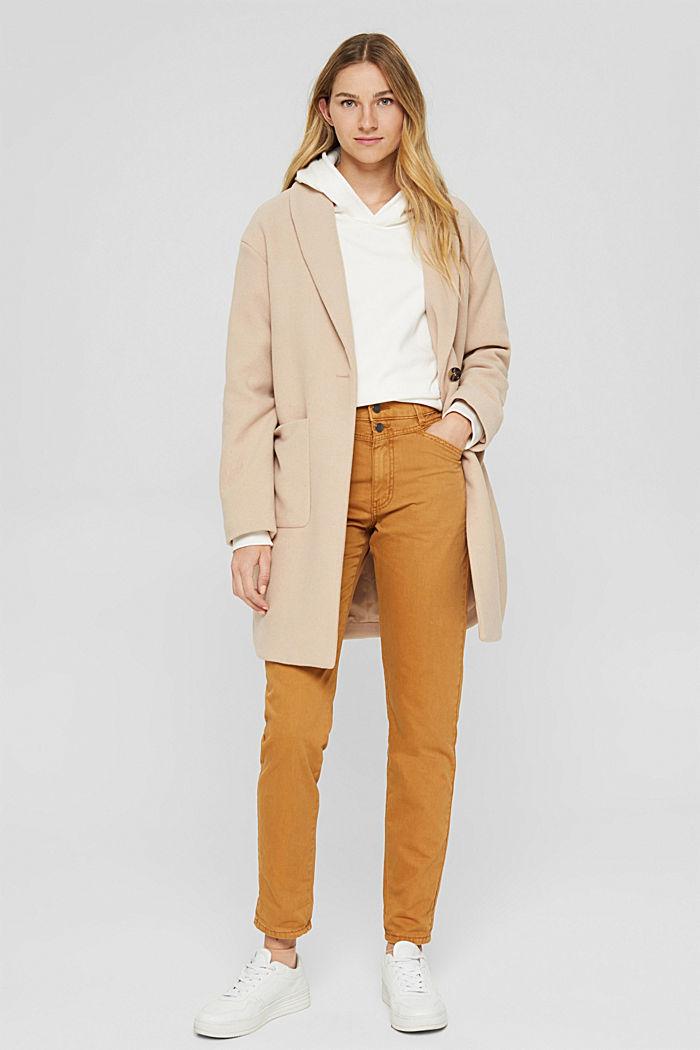 Højtaljede bukser med to knapper, 100% økologisk bomuld