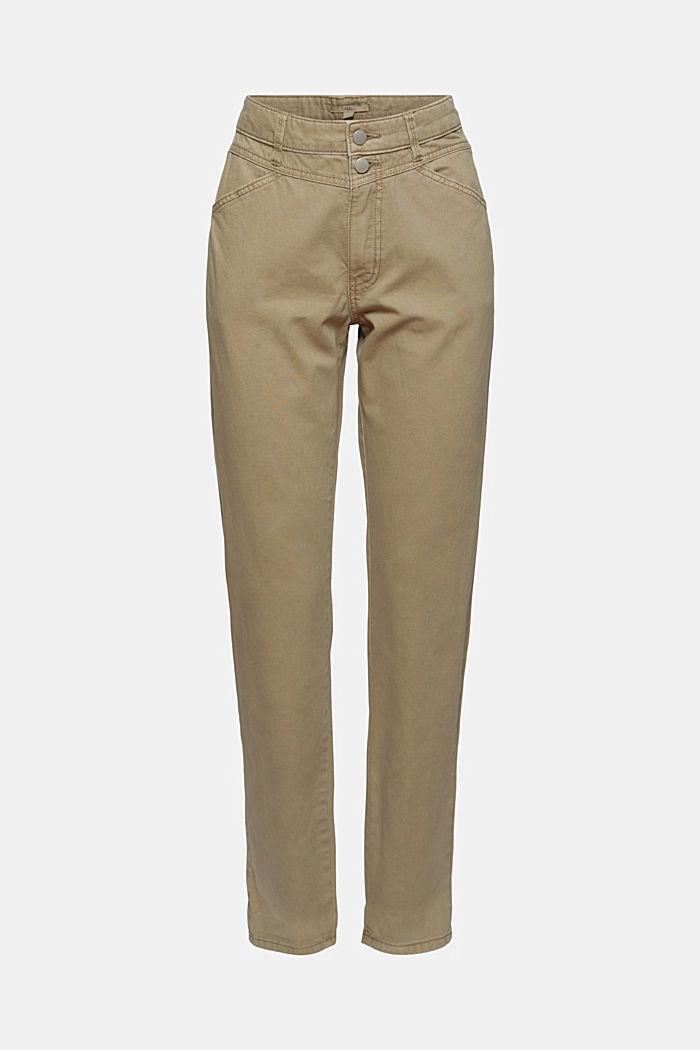 Pantalón de cintura alta con botón doble, 100% algodón ecológico