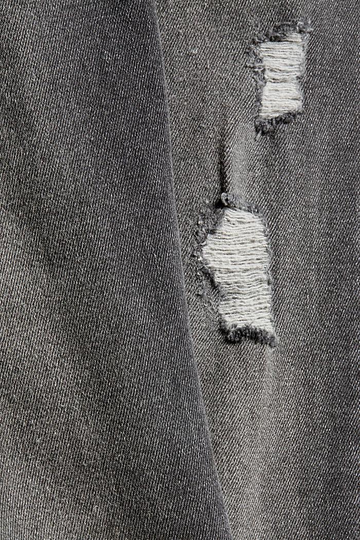 Cropped used stretchjeans, biologisch katoen, BLACK DARK WASHED, detail image number 4