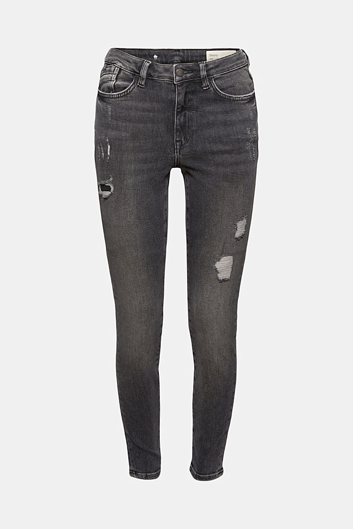 Cropped used stretchjeans, biologisch katoen
