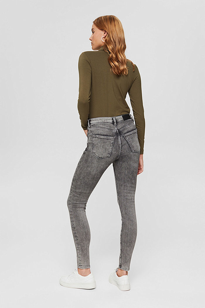Cropped Used-Stretch-Jeans, Bio-Baumwolle, GREY MEDIUM WASHED, detail image number 3
