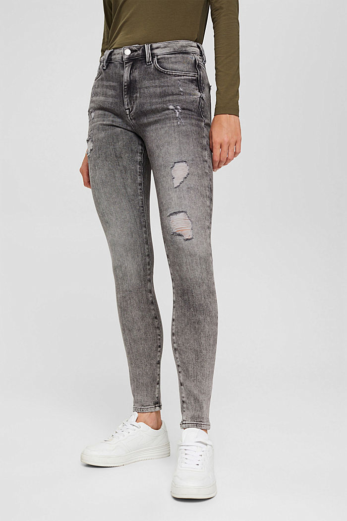 Cropped Used-Stretch-Jeans, Bio-Baumwolle, GREY MEDIUM WASHED, detail image number 6