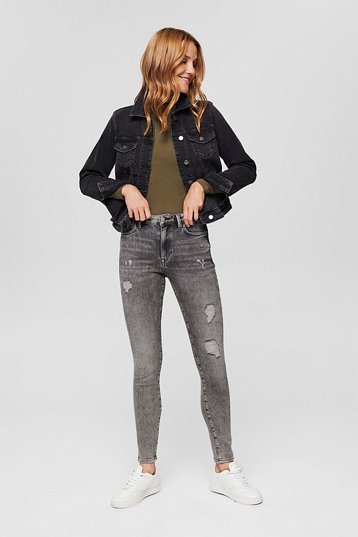 Cropped Used-Stretch-Jeans, Bio-Baumwolle, GREY MEDIUM WASHED, detail image number 1