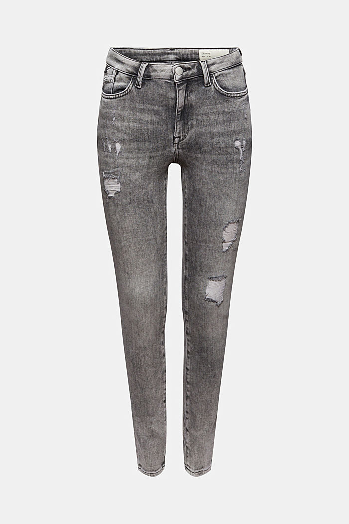 Cropped Used-Stretch-Jeans, Bio-Baumwolle, GREY MEDIUM WASHED, detail image number 7