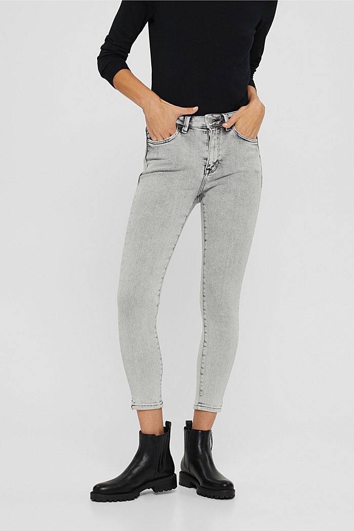 Cropped Jeans mit geschlitztem Saum, BLACK BLEACHED, detail image number 0