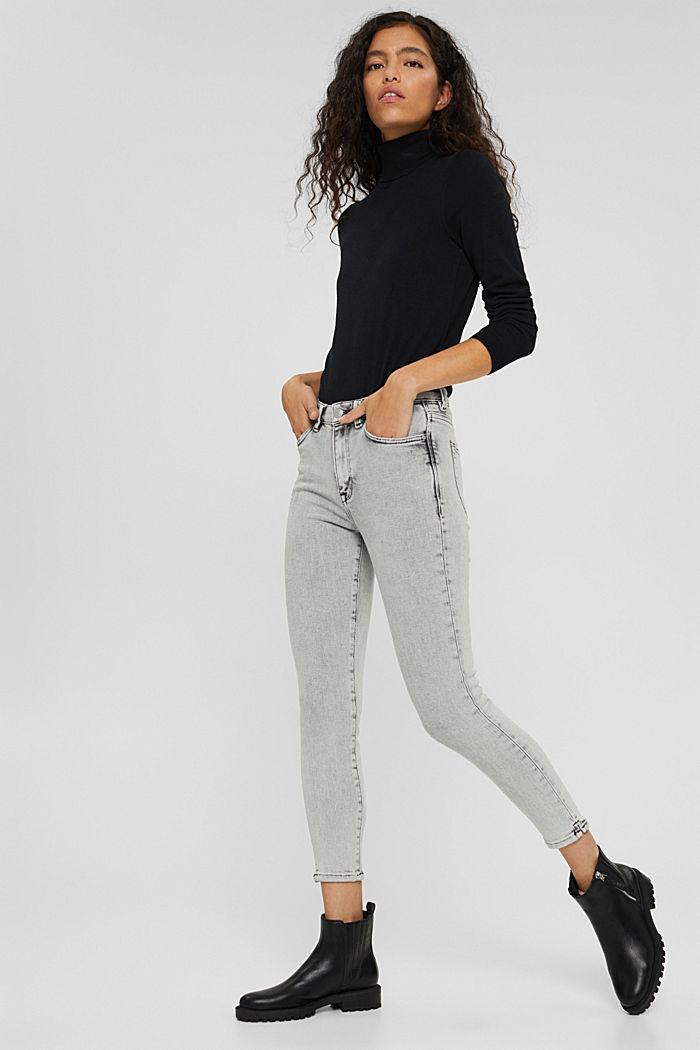 Cropped Jeans mit geschlitztem Saum, BLACK BLEACHED, detail image number 6