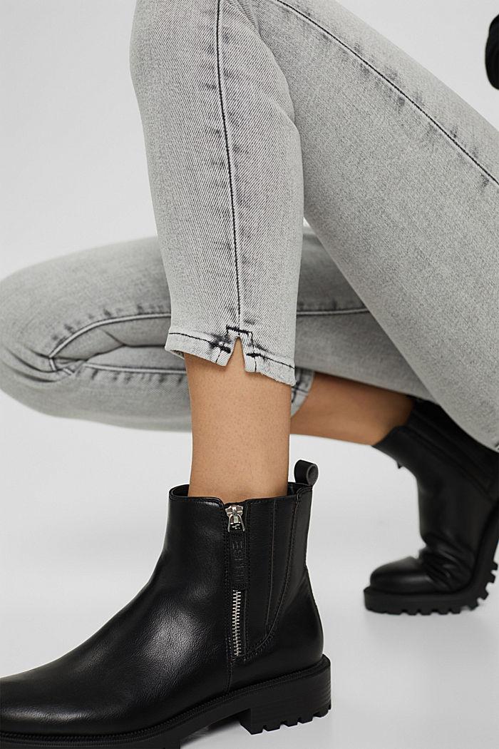 Cropped Jeans mit geschlitztem Saum, BLACK BLEACHED, detail image number 5