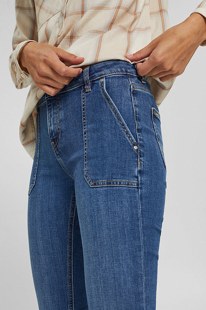 Jean stretch en coton bio, BLUE MEDIUM WASHED, detail image number 2