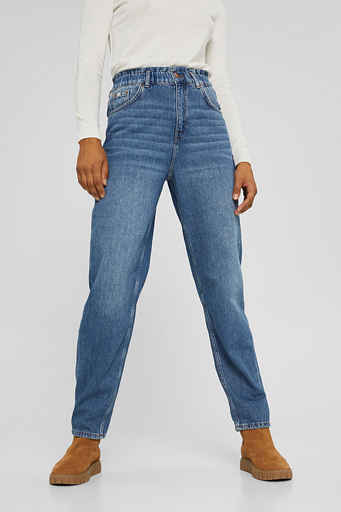 Jeans in a fashionable fit with an elasticated waistband, BLUE MEDIUM WASHED, detail image number 0