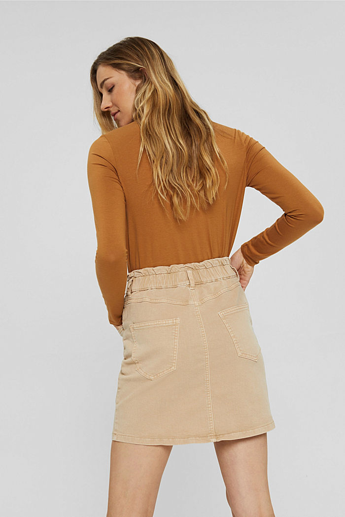 Mini skirt with paper bag waistband, organic cotton, BEIGE, detail image number 3
