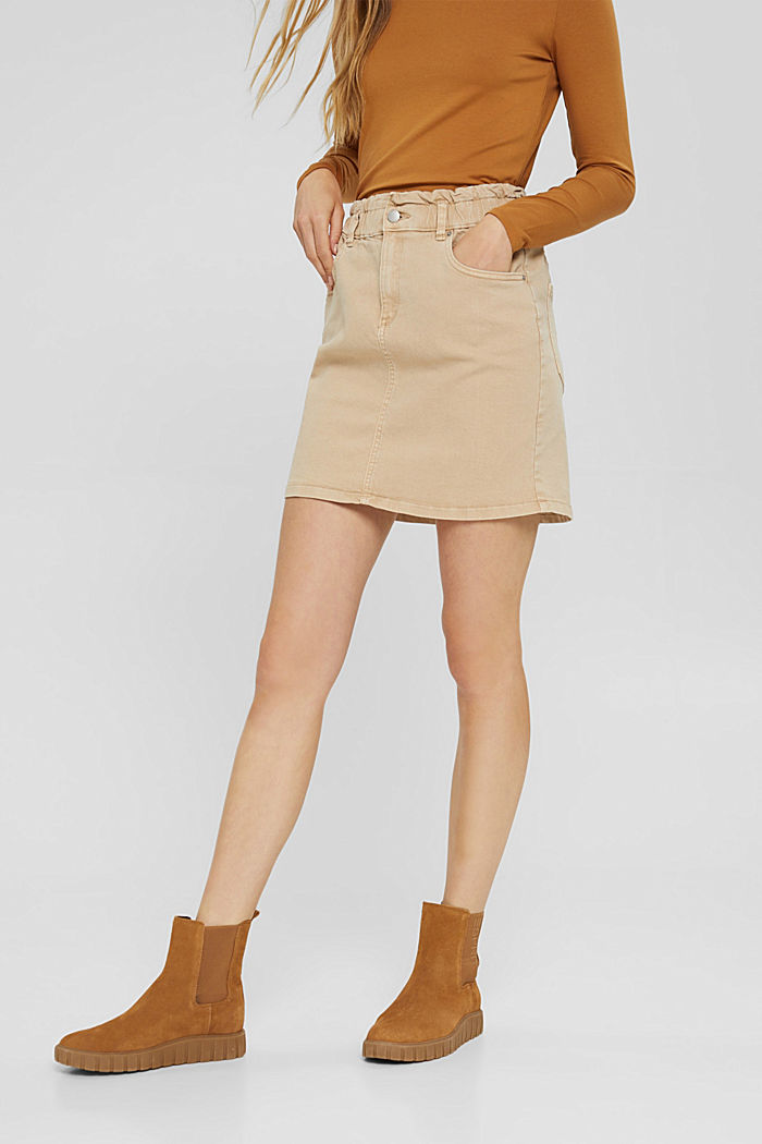 Mini skirt with paper bag waistband, organic cotton, BEIGE, detail image number 5
