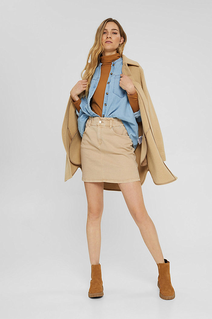 Mini skirt with paper bag waistband, organic cotton, BEIGE, detail image number 1