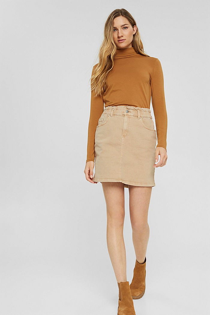 Mini skirt with paper bag waistband, organic cotton, BEIGE, detail image number 6