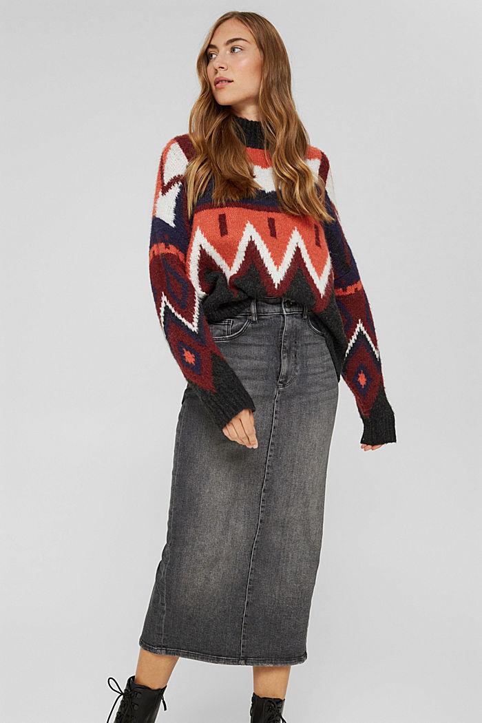 Skirts denim Straight Fit High Rise, BLACK MEDIUM WASHED, detail image number 5