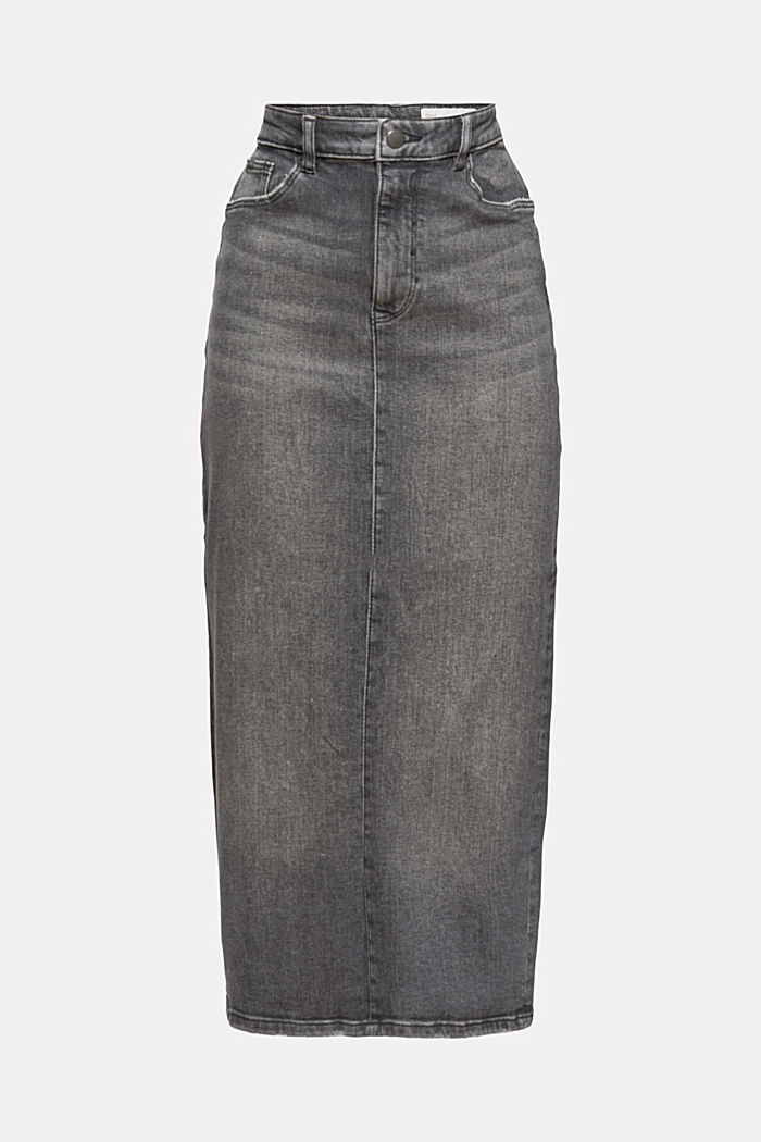 Skirts denim Straight Fit High Rise, BLACK MEDIUM WASHED, detail image number 6