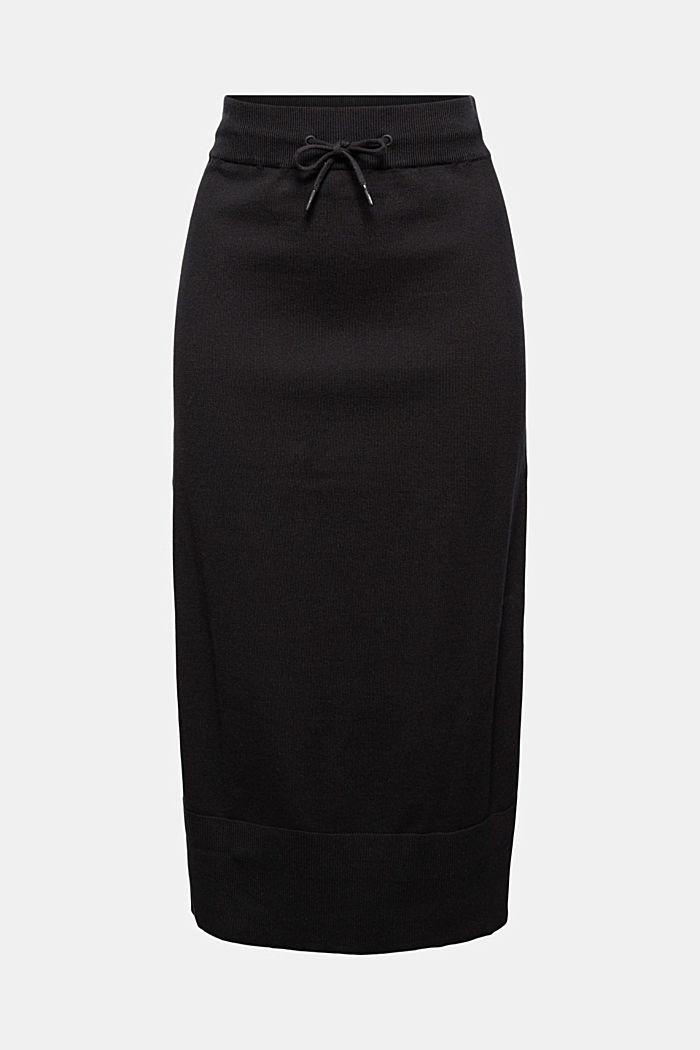 Midirock aus Feinstrick, 100% Baumwolle, BLACK, detail image number 6
