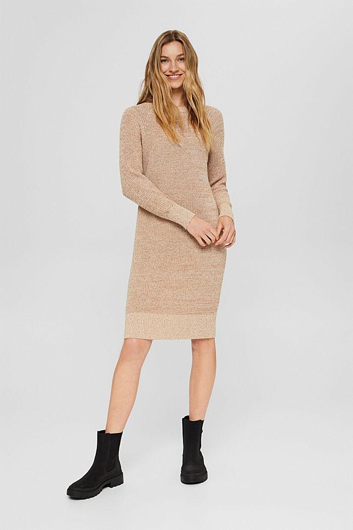 Gebreide jurk van 100% katoen, BEIGE, detail image number 1