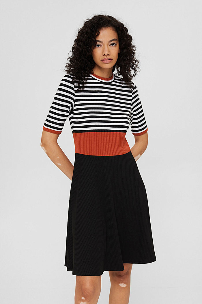 Colour block dress made of ribbed jersey, BLACK, detail image number 0