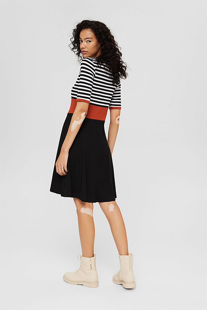 Colour block dress made of ribbed jersey, BLACK, detail image number 2