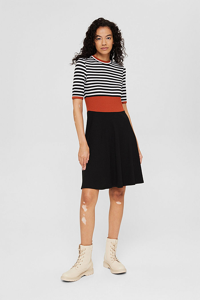 Colour block dress made of ribbed jersey, BLACK, detail image number 6
