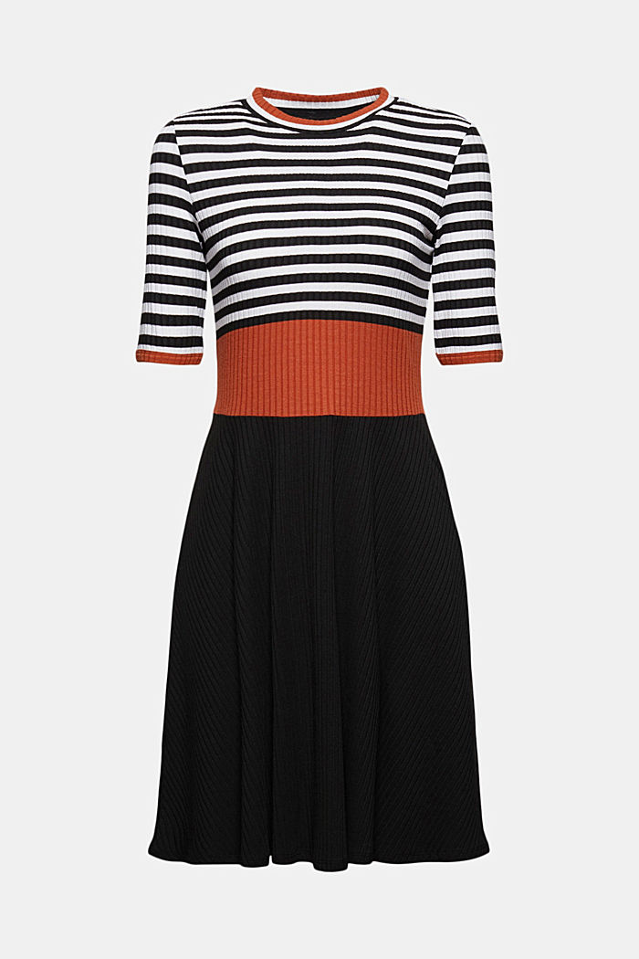Colour block dress made of ribbed jersey, BLACK, detail image number 7