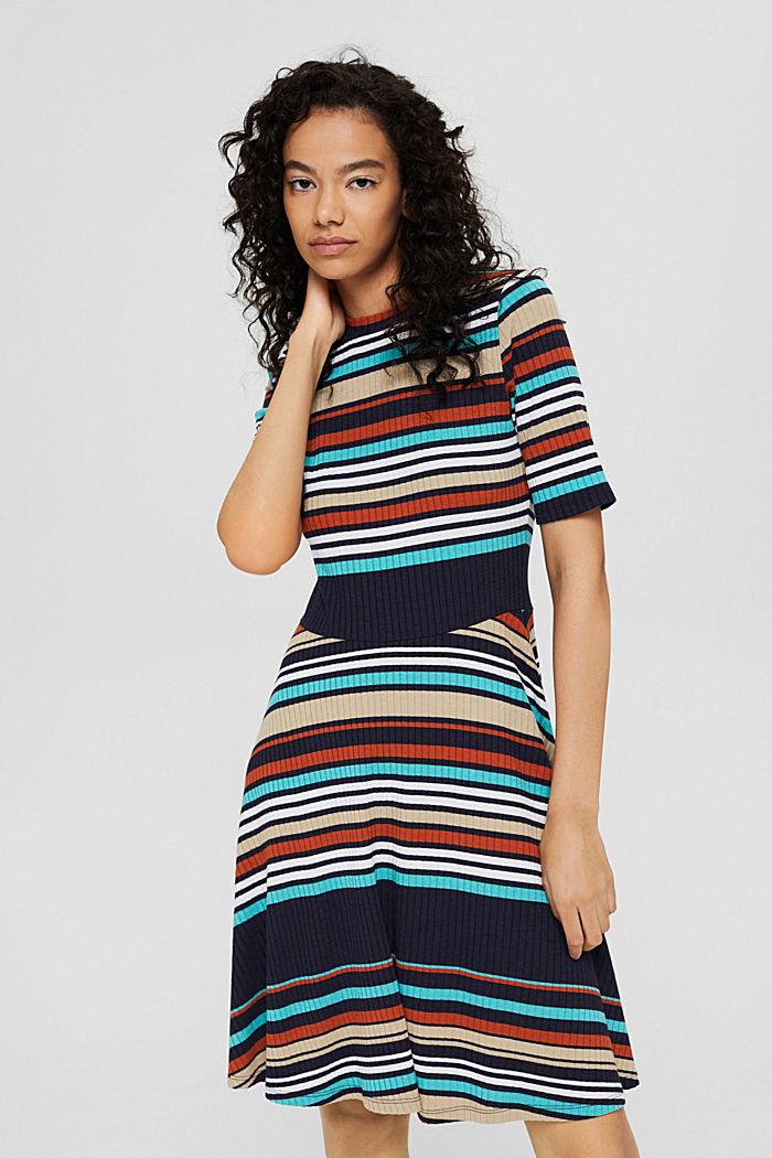 Colour block jurk van geribde jersey, NAVY, detail image number 0