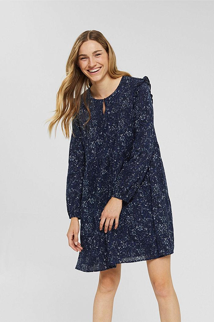 Print-Kleid mit Rüschen aus 100% Baumwolle, NAVY, detail image number 0