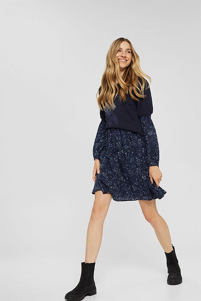 Print-Kleid mit Rüschen aus 100% Baumwolle, NAVY, detail image number 1
