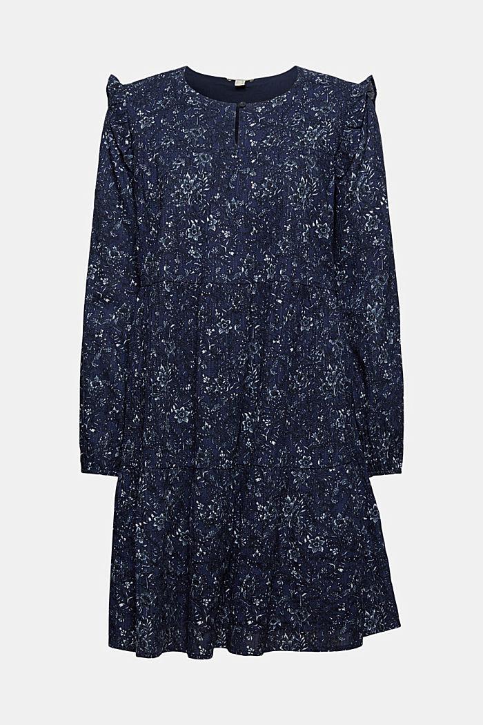 Print-Kleid mit Rüschen aus 100% Baumwolle, NAVY, detail image number 5